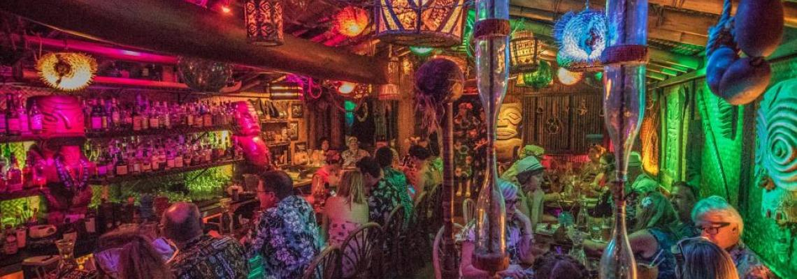 Colorful interior of Hale Pele tiki bar.